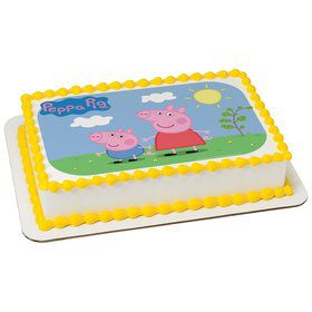Peppa Pig Sunny Days Quarter Sheet Edible Cake Topper (Each)