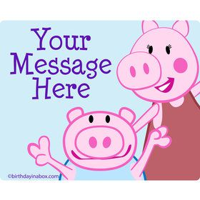 Peppy Pig Personalized Rectangular Stickers (Sheet of 15)