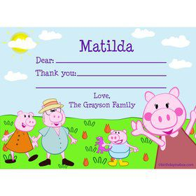 Peppy Pig Personalized Thank You Note (Each)