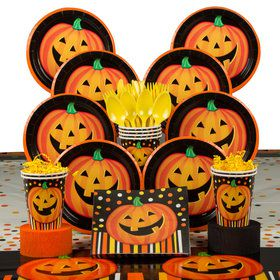 Perfect Pumpkin Halloween Deluxe Tableware Kit (Serves 8)
