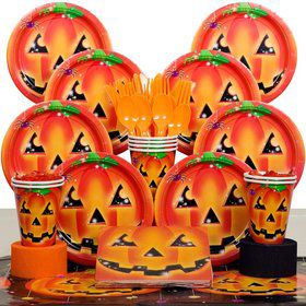 Perfect Pumpkin Halloween Party Deluxe Tableware Kit Serves 8