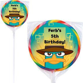 Phineas And Ferb Personalized Lollipop (12 Pack)