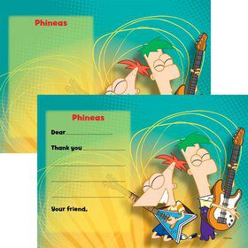 Phineas And Ferb Personalized Thank You Note (Each)