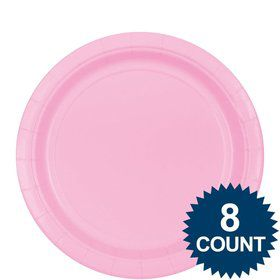 "Pink 9"" Paper Plate, 8ct."