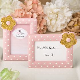 Pink and Gold photo frame / place card frame