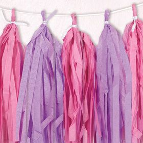 Pink and Purple Tissue Tassel 9' Garland