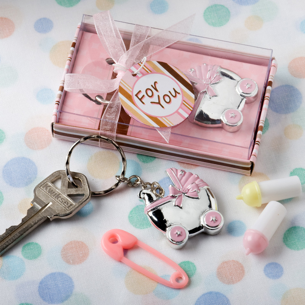 Pink Baby Carriage Key Chain Favor (Each) - Party Supplies