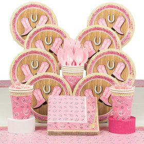 Pink Bandana Birthday Deluxe Tableware Kit (Serves 8)