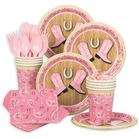 Pink Bandana Birthday Standard Tableware Kit (Serves 8)