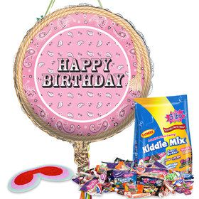 Pink Bandana Cowgirl Birthday Pull String Pinata Kit