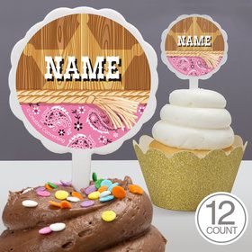 Pink Bandana Personalized Cupcake Picks (12 Count)