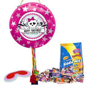 Pink Birthday Skull Pull String Pinata Kit