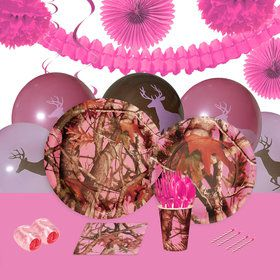 Pink Camo 16 Guest Party Pack Deco Kit