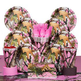Pink Camo Deluxe Tableware Kit Serves 8