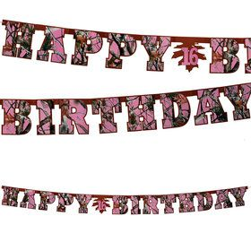 Pink Camo Happy Birthday Banner