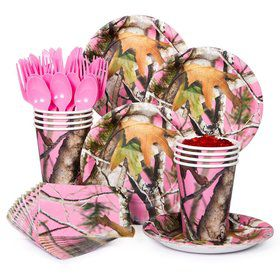 Pink Camo Party Standard Tableware Kit Serves 8