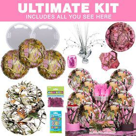 Pink Camo Party Ultimate Tableware Kit Serves 8