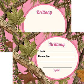 Pink Camo Personalized Thank You Note (each)