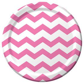 "Pink Chevron 9"" Luncheon Plate (8 Count)"