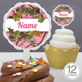 Pink Cover Personalized Cupcake Picks (12 Count)