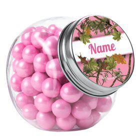 Pink Cover Personalized Plain Glass Jars (12 Count)