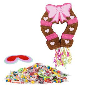 Pink Cowgirl Pull-String Horseshoe Pinata Kit