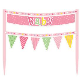 Pink Dots Baby Shower Cake Banner (Each)