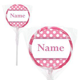 "Pink Dots Personalized 2"" Lollipops (20 Pack)"