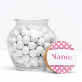 """Pink Dots Personalized 3"""" Glass Sphere Jars (Set of 12)"""