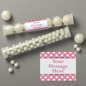 Pink Dots Personalized Candy Tubes (12 Count)