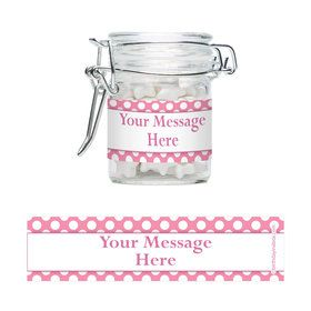 Pink Dots Personalized Glass Apothecary Jars (12 Count)