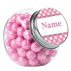 Pink Dots Personalized Plain Glass Jars (10 Count)