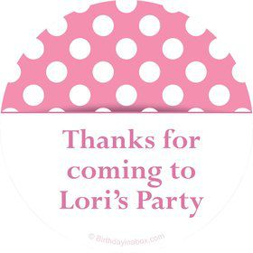 Pink Dots Personalized Stickers (Sheet of 12)