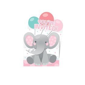 Pink Elephant Birthday Pop Up Invitation