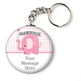"""Pink Elephant Personalized 2.25"""" Key Chain (Each)"""