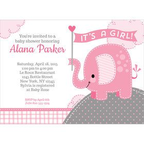 Pink Elephant Personalized Invitation (Each)