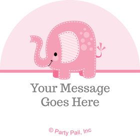 Pink Elephant Personalized Mini Stickers (Sheet of 24)