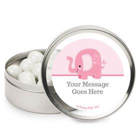 Pink Elephant Personalized Mint Tins (12 Pack)