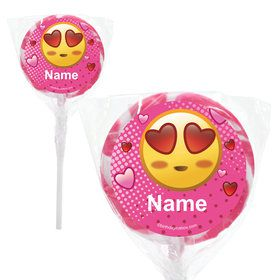 "Pink Emoji Personalized 2"" Lollipops (20 Pack)"