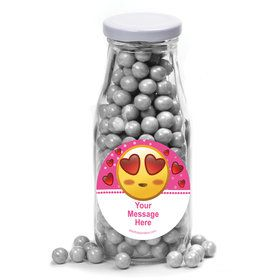 Pink Emoji Personalized Glass Milk Bottles (10 Count)