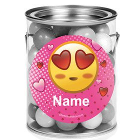 Pink Emoji Personalized Mini Paint Cans (12 Count)