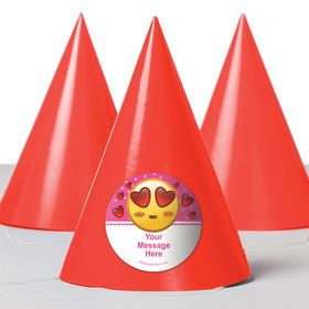 Pink Emoji Personalized Party Hats (8 Count)