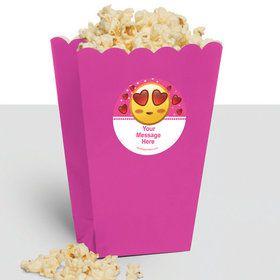 Pink Emoji Personalized Popcorn Treat Boxes (10 Count)