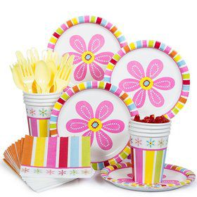 Pink Flower Standard Birthday Party Tableware Kit Serves 8