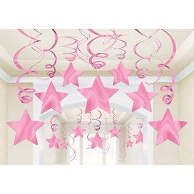 Pink Foil Star Hanging Decorations (30 Count)