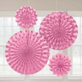 Pink Glitter Paper Fan Decorations (4 Pack)