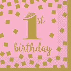 Pink & Gold 1st Birthday Beverage Napkins (16)