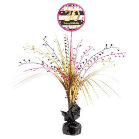 Pink & Gold 30th Birthday Spray Centerpiece (1)