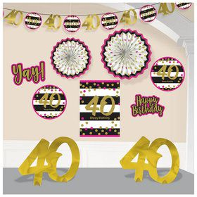 Pink & Gold 40th Birthday Room Decorating Kit (10 Pieces)