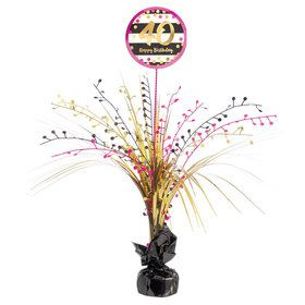 Pink & Gold 40th Birthday Spray Centerpiece (1)